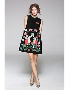 Dámské Běžné/Denní Pouzdro Šaty Jednobarevné Tisk,Bez rukávů Kulatý Délka ke kolenům Nylon Podzim Mid Rise Lehce elastické Střední