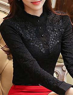 여성 솔리드 라운드 넥 긴 소매 블라우스,심플 데이트 캐쥬얼/데일리 면