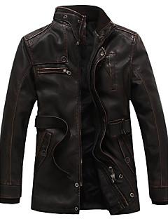 メンズ カジュアル/普段着 冬 レザージャケット,ヴィンテージ スタンド ソリッド ロング ポリウレタン 長袖