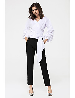 Damen Solide Einfach Lässig/Alltäglich Hemd,Schulterfrei Frühling Sommer Langarm Baumwolle Dünn