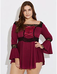 Damen Solide Übergröße / Einfach Lässig/Alltäglich Hemd,Rundhalsausschnitt ¾-Arm Blau / Rot / Schwarz / Lila Polyester Mittel