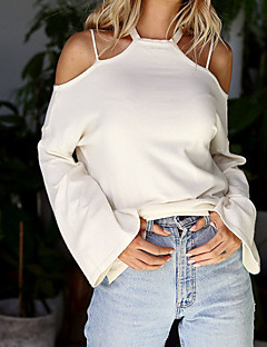 Women's Going out Casual/Daily Sexy Cute Fall Winter T-shirt,Solid Off Shoulder Long Sleeves Cotton Medium
