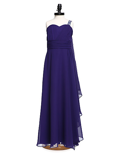 9e02ef9c350 Γραμμή Α Ένας Ώμος Μακρύ Σιφόν Φόρεμα Νεαρών Παρανύμφων με Χάντρες / Ζώνη /  Κορδέλα / Πλαϊνό ντραπέ με LAN TING BRIDE® / Φυσικό