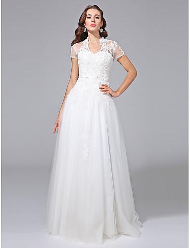 17df2dfabfbd Χαμηλού Κόστους Νυφικά-Γραμμή Α Λαιμόκοψη V Μακρύ Δαντέλα πάνω από τούλι  Φορέματα γάμου φτιαγμένα