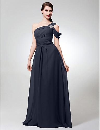 4f5b100cc6c Γραμμή Α Ένας Ώμος Μακρύ Σιφόν Φόρεμα Παρανύμφων με Πλαϊνό ντραπέ /  Κρυστάλλινη καρφίτσα / Πιασίματα με LAN TING BRIDE®