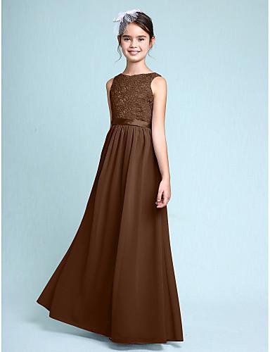 e5fb545dff74 Ίσια Γραμμή Bateau Neck Μακρύ Σιφόν   Δαντέλα Φόρεμα Νεαρών Παρανύμφων με  Δαντέλα με LAN TING BRIDE®   Φυσικό