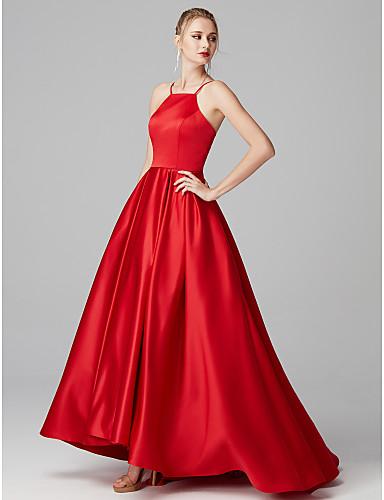 7bb89f4a91a5 Βραδινή τουαλέτα Λαιμόκοψη Υ Ουρά Σατέν Κοντό Μπροστά Μακρύ Πίσω  Χοροεσπερίδα   Επίσημο Βραδινό Φόρεμα με Πλισέ με TS Couture®