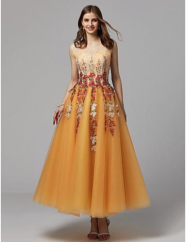 0941272ae2e Plesové šaty Illusion Neckline K lýtkům Krajka   Tyl Maturitní ples Šaty s  Výšivka podle TS Couture®