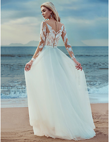 5c323696f07b Γραμμή Α Scoop Neck Μέχρι τον αστράγαλο Δαντέλα   Τούλι Φορέματα γάμου  φτιαγμένα στο μέτρο με Διακοσμητικά Επιράμματα   Δαντέλα με LAN TING BRIDE®