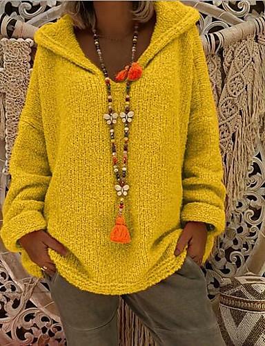 1c133917b990 Χαμηλού Κόστους Γυναικεία Πουλόβερ-Γυναικεία Καθημερινά Καθημερινό  Υπερμεγέθης Μονόχρωμο Μακρυμάνικο Φαρδιά Κανονικό Πουλόβερ