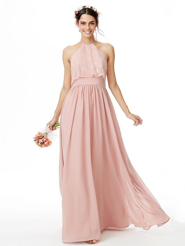 71237d5e1 A-Line Jewel Neck Floor Length Chiffon / Lace Bridesmaid Dress with Lace /  Pleats