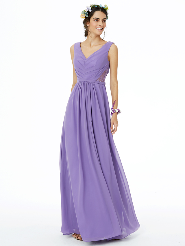 42ad25fe30 Sheath / Column V Neck Floor Length Chiffon Bridesmaid Dress with Lace /  Sash / Ribbon / Pleats by LAN TING BRIDE® / Open Back