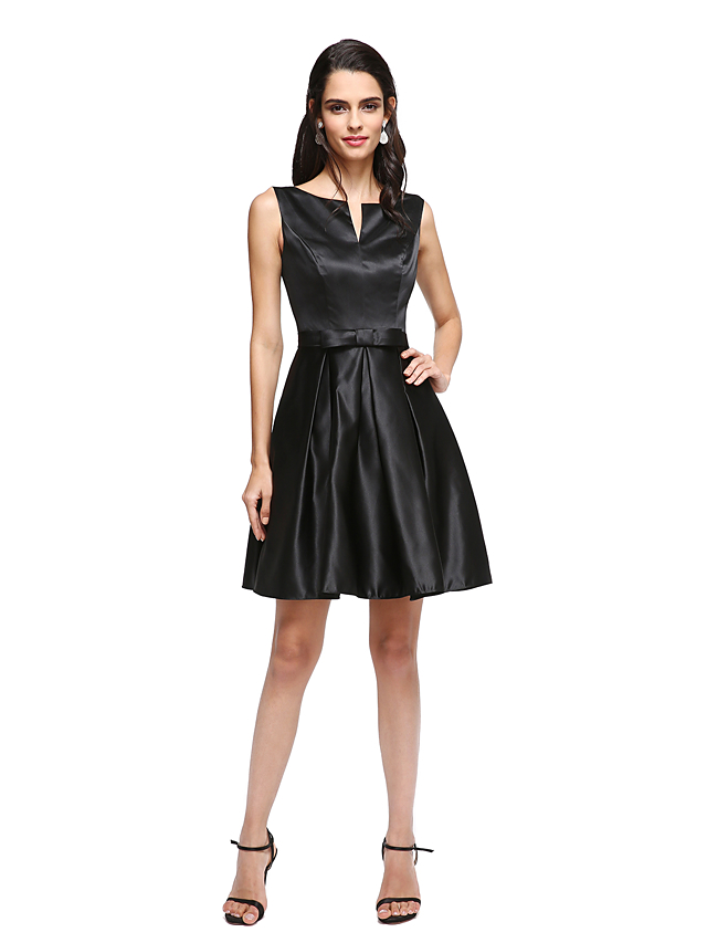 a962afc6545 A-Line V Wire Short   Mini Satin Little Black Dress Cocktail Party   Prom  Dress with Bow(s)   Pleats by TS Couture®