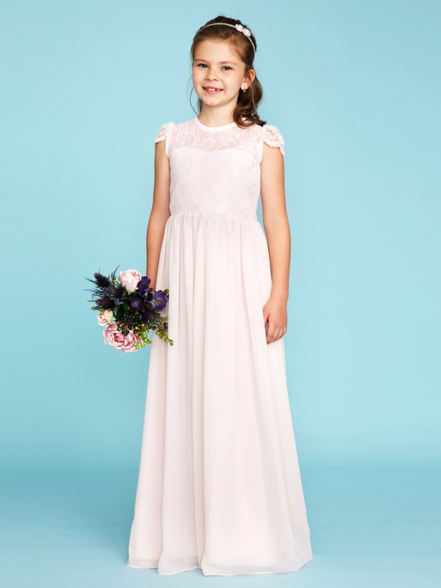 A-Line / Princess Crew Neck Floor Length Chiffon / Lace Junior Bridesmaid Dress with Buttons / Pleats by LAN TING BRIDE® / Wedding Party / See Through