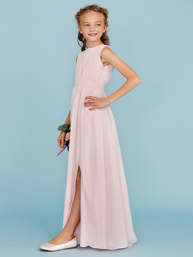 0063a2941e14 Sheath / Column Crew Neck Floor Length Chiffon Junior Bridesmaid Dress with  Draping / Sash / Ribbon / Split Front by LAN TING BRIDE® / Wedding Party ...