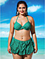 Mulheres Biquíni / Multi-Peça Com Babado / Sólido Nadador Nylon / Elastano Mulheres