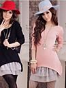 Guler rotund femei Lace Hem Knit cu mâneci lungi 2 în 1 rochii de drăguț