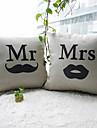 set de 2 mr.moustache și mrs.lip bumbac / lenjerie decorativ pernă capac
