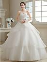 Haine Bal In Formă de Inimă Lungime Podea Organza Rochie de mireasă cu Cruce Flori Niveluri de JUEXIU Bridal