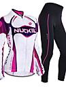 Nuckily Maillot et Cuissard Long de Cyclisme Femme Manches Longues Velo Ensemble de Vetements Garder au chaud Pare-vent Design Anatomique