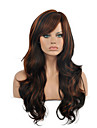 Femme Perruque Synthetique Sans bonnet Long Ondules Marron Cheveux Colores Meches Colorees / Balayees Partie laterale Avec Frange