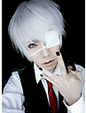 Peruci de Cosplay Mască Tokyo Ghoul Ken Kaneki Argintiu Short Anime Peruci de Cosplay 26 CM