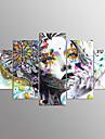 Impression sur Toile Portraits Abstraits Moderne,Cinq Panneaux Toile Toute forme Imprime Decoration murale For Decoration d\'interieur