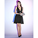 Χαμηλού Κόστους Φωτιστικά LED-Γραμμή Α Βυθίζοντας το λαιμό Κοντό / Μίνι Σιφόν Μικρό Μαύρο Φόρεμα Κοκτέιλ Πάρτι Φόρεμα με Ζώνη / Κορδέλα με TS Couture®
