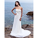 cheap Wedding Shoes-Sheath / Column Strapless Chapel Train Chiffon Made-To-Measure Wedding Dresses with Side-Draped by LAN TING BRIDE®
