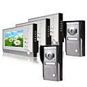 billige Dørtelefonssystem med video-Tre 7 tommers skjermfarge video dør telefon system (2alloy weatherproof cover kamera)