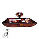 preiswerte Waschschalen und Aufsatz-Waschbecken-Moderne Rechteckig Material der Becken ist Hartglas Einbauring für Badezimmer Wasserablass für die Küche