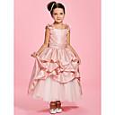 Χαμηλού Κόστους Δώρα γάμου-Γραμμή Α Μέχρι τον αστράγαλο Φόρεμα για Κοριτσάκι Λουλουδιών - Ταφτάς Αμάνικο Bateau Neck με Φούστα με πιασίματα / Ζώνη / Κορδέλα / Πιασίματα με LAN TING BRIDE® / Άνοιξη / Καλοκαίρι / Φθινόπωρο