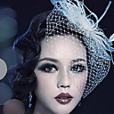 cheap Party Headpieces-Tulle Crystal Feather Fabric Tiaras Birdcage Veils 1 Wedding Special Occasion Party / Evening Outdoor Headpiece