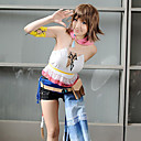 cheap Videogame Costumes-Inspired by Final Fantasy Yuna Video Game Cosplay Costumes Cosplay Suits Patchwork Short Sleeve Vest Armlet Waist Accessory Costumes / Chiffon