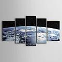 billige Oljemalerier-Hang malte oljemaleri Håndmalte - Landskap Moderne Inkluder indre ramme / Fem Paneler / Stretched Canvas