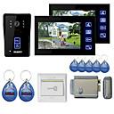 """baratos Sistemas de Câmeras para Portas-7 """"cores mãos livres video porta telefone com 2 monitores visão noturna rfid keyfobs bloqueio de controle eletrônico"""