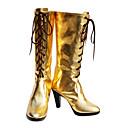 baratos Sapatos de Noiva-Botas de Fantasia Vocaloid Megurine Luka Anime Sapatos de Cosplay PU Leather Mulheres Trajes da Noite das Bruxas
