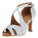 hesapli Latin Dans Ayakkabıları-Kadın's Işıltılı Simler Latin Dans Ayakkabıları / Salsa Ayakkabıları Toka Topuklular Kişiye Özel Kişiselleştirilmiş Siyah / Gümüş / Kırmzı / Deri / EU40