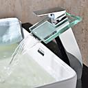 tanie Baterie łazienkowe-Bateria do umywalki łazienkowej - Wodospad Chrom Umywalka nablatowa Jeden otwór / Jeden uchwyt Jeden otwór / Mosiądz