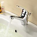 tanie Baterie łazienkowe-nowoczesny ceramiczny zawór centralny jeden otwór pojedynczy uchwyt jeden otwór chrom, baterie łazienkowe zlew krany kąpieli