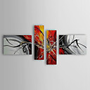 cheap Abstract Paintings-Oil Painting Hand Painted - Abstract Canvas Four Panels
