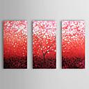 halpa Öljymaalaukset-Maalattu Kukkakuvio/Kasvitiede Horizontal Kangas Hang-Painted öljymaalaus Kodinsisustus 3 paneeli