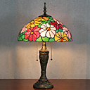 cheap Table Lamps-Flower Design Table Lamp, 2 Light, Tiffany Resin Glass Painting
