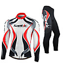 cheap Cycling Gloves-SANTIC Men's Long Sleeve Cycling Jersey with Tights - Red / White Bike Jacket / Tights / Clothing Suit, Windproof, Thermal / Warm, Anatomic Design, Fleece Lining, Ultraviolet Resistant Spandex, Fleece