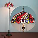 tanie Oświetlenie Tiffany-Czytelnicza lampa podłogowa w stylu tiffany witraż spokój wiktoriański abażur w 61 calowej antycznej wygiętej podstawie do sypialni zestaw do salonu