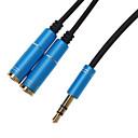 hesapli AC Adaptör ve Güç Kabloları-2 Kadın Splitter Kablo Blue (0.3M) için 3.5mm kulaklık Erkek