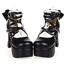 رخيصةأون أحذية لوليتا-أحذية لوليتا كلاسيكية وتقليدية مصنوع يدوي كعب عالي أحذية ببيونة 9.5 cm CM أسود من أجل نسائي جلد البولي يوريثان كوستيوم هالوين