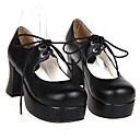 baratos Spinners de mão-Sapatos Lolita Clássica e Tradicional Confeccionada à Mão Salto Alto Sapatos Sólido 7.5 CM Para Couro PU/Couro de Poliuretano