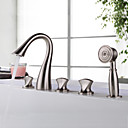 cheap Bathtub Faucets-Bathtub Faucet - Contemporary Nickel Brushed Tub And Shower Ceramic Valve / Two Handles Five Holes