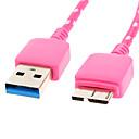 hesapli USB-Micro USB 3.0 USB 3.0 M / M Kablo Net-Kaplama Samsung Note için Siyah 3 (1M)